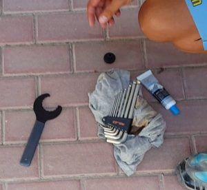 Herramientas para limpieza y engrase del eje pedalier